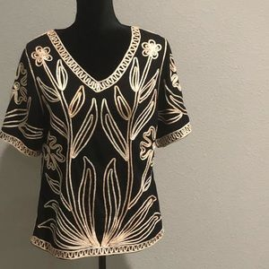 Lauren Michelle Metallic Embroidered Blouse